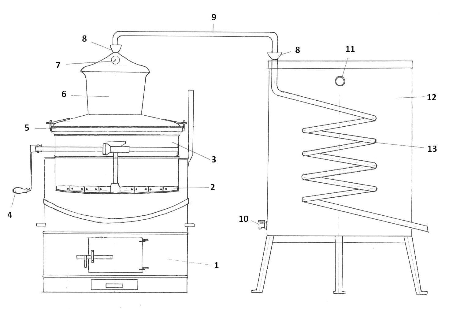 professionele distilleerketel technische tekening | drank stoken