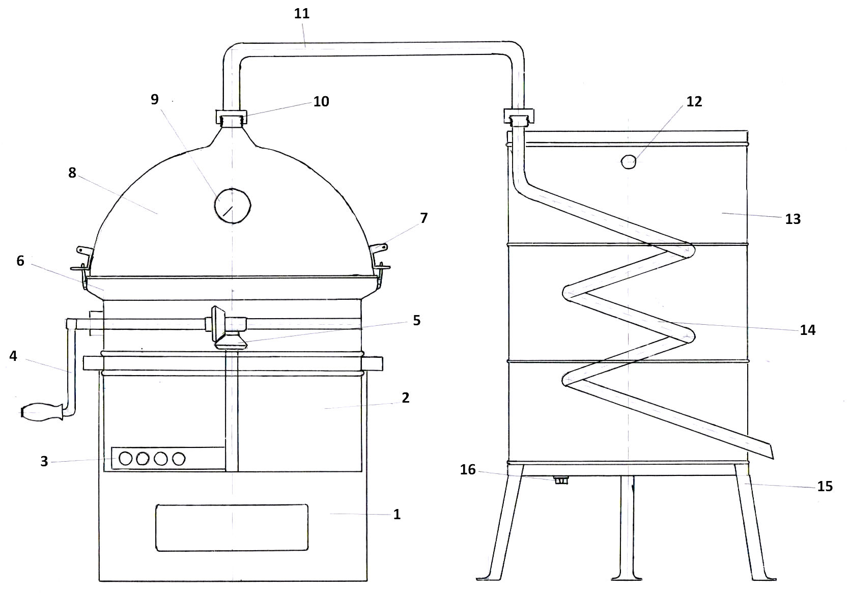 Distilleerketel Hobby technische tekening | drank stoken